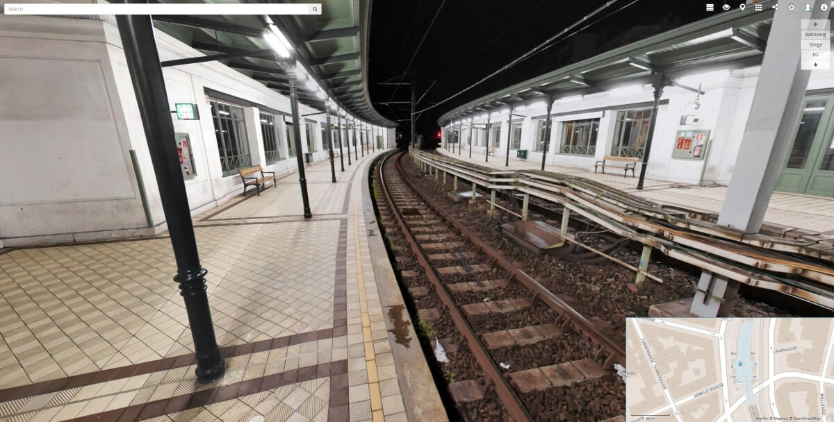 Panoramic image of the metro station captured by NavVis IMMS
