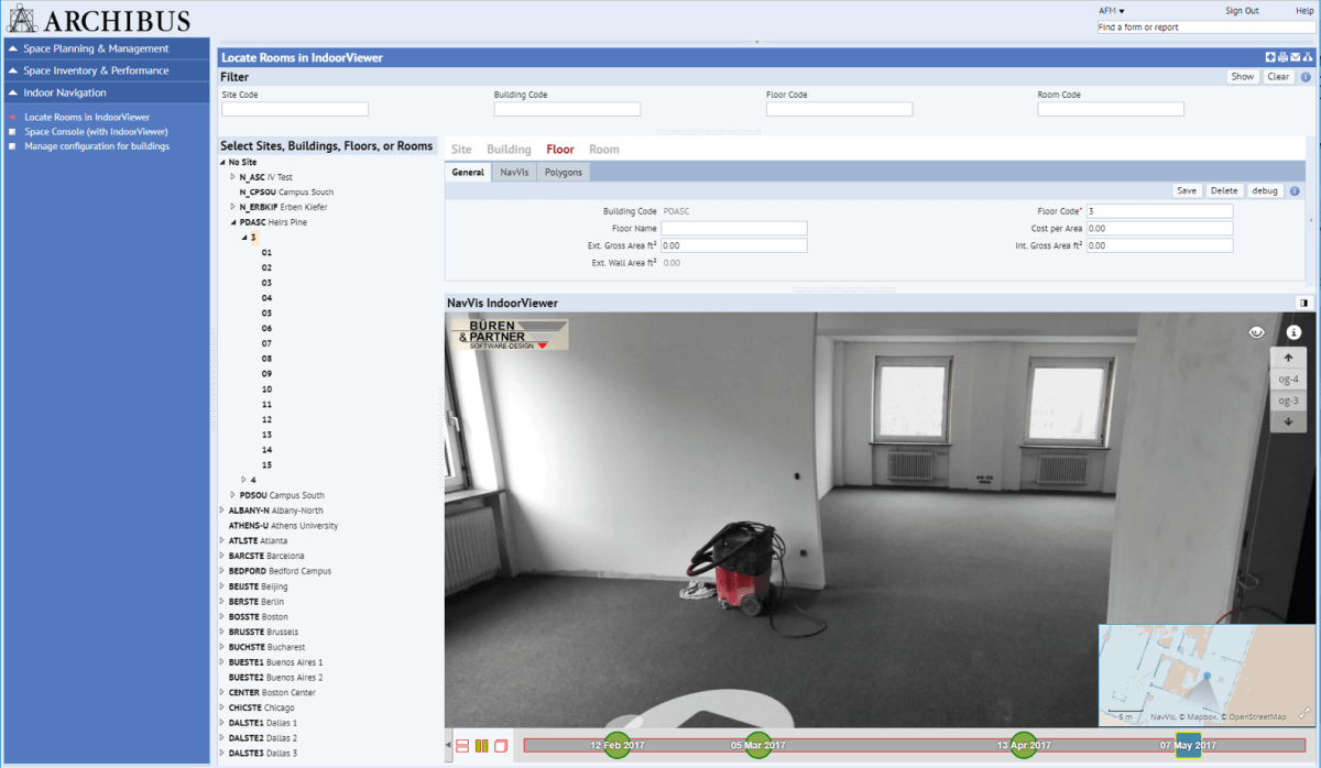 NavVis Indoorviewer integration at Archibus