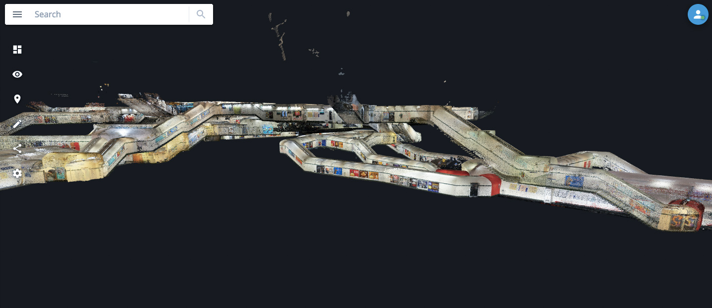 Point cloud of the République Métro in Paris displayed in NavVis IndoorViewer