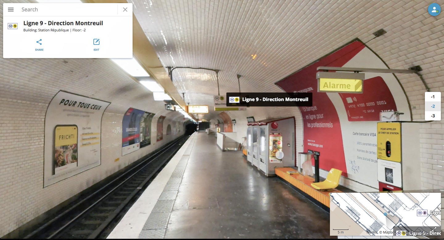 République Métro in Paris as an immersive 360° walkthrough displayed in NavVis IndoorViewer